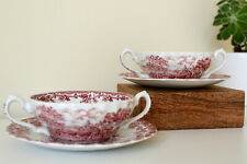 """Myotts England """"Country Life"""" Soup Bowl with Plate x 2"""