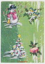 cartolina lucida vintage Ed.PICCOLI pupazzo di neve campanella albero di Natale
