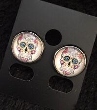 Sugar Skull Day of the Dead Tattoo Stud Earrings Kitsch Rockabilly Psychobilly B