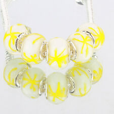 Yellow graffiti 5pcs MURANO glass bead LAMPWORK fit European Charm Bracelet