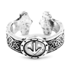 Viking Ring Rune TIWAZ Honor Norse Nordic Celtic Knot Silver Adjustable