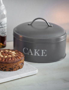 Round Cake Tin in Charcoal - With Lid