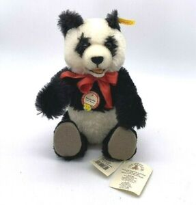 """11"""" Steiff Panda Bear 1938 Replica Glass Eyes Button Ear Tags Red Ribbon Jointed"""