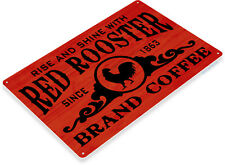 "TIN SIGN ""Red Rooster Brand Coffee"" Metal Decor Cafe Art Kitchen Store Shop B007"