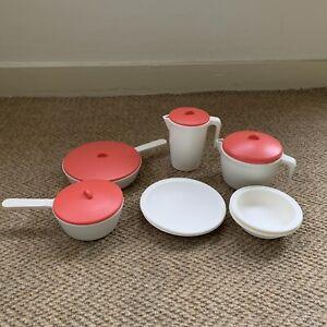 Vintage Step2 Play Kitchen Lot Dishes Pots Pans Pitcher Lids 1980s