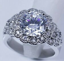 Statement Ring New Size 7.5/P Silver Cubic Zirconia Thick Chunky