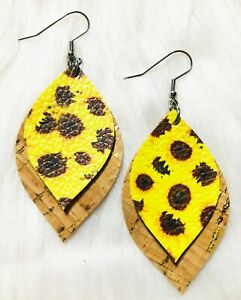 Natural Cork / Spring Yellow Sunflower Faux Leather Earrings Double Layer