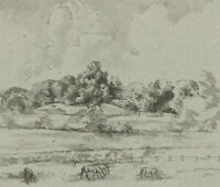 J.H. - 1965 Pen and Ink Drawing, Landscape View with Horses