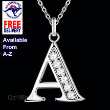 Letter A-Z Stamped 925 Fashion Silver Necklace Pendant Silver Plated Women Girls
