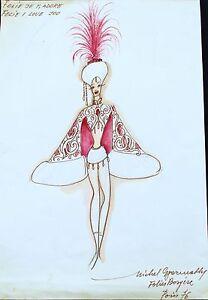 FOLIES BERGÈRE Costume WATERCOLOR SIGNED by  MICHEL GYARMATHY lot 1