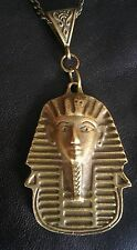 """Egyptian Sphinx Antiqued Brass Tone Necklace 20"""" Chain Occult New Age Revival"""