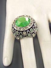 Silver Toned Green Rhinestone Round Stretch Ring