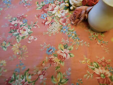 Antique Shabby Cottage Roses Cotton Fabric ~ Coral pink yellow blue~ beautiful