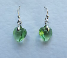 SMALL HEART DROP EARRINGS FACETED LIME GREEN GLASS SILVER PLATED FITTINGS