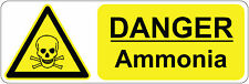 DANGER - AMMONIA  health and safety, warning, first aid signs/stickers