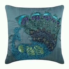 Toss Pillow Cover 12x12 inch Luxury Blue, Silk Peacock Beaded - Dancing Peacock