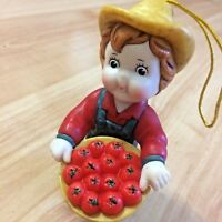 "CAMPBELL'S Soup Farm Boy ORNAMENT Collectors 3"" Basket of Apples BNWOB"