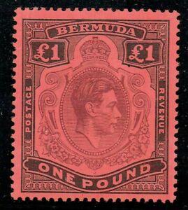Bermuda 1938 SG121 £1 Purple & Black P14 Fine M/M Cat. £300.00