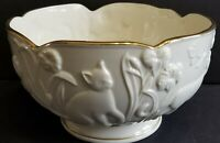 Lenox Ivory Porcelain Garden 3D Cat Bowl with Gold Trim Limited Edition USA