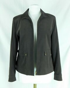 Talbots Size 8 Chocolate Brown Zip Front Blazer Jacket Perfect Condition!