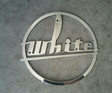 VINTAGE WHITE SEMI TRUCK EMBLEM BADGE 1940'5 50'S