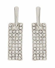 CLIP ON EARRINGS - silver plated drop earring cubic zirconia stones - Adele S