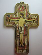 "San Damiano Cross / Cross of St Francis Picture Wall Cross on Wood 5"" Italy"