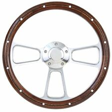 1967 to 1974 Ford Bronco Real Wood & BIllet Steering Wheel Full Install Kit