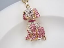 cute inlaid Crystal pink dog pendant necklace # F205