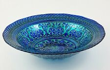 Turkish Delights Glass Decorative Serving Bowl Silver Blue Green