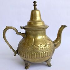 Vtg Middle East TEAPOT with Lid & Handle Engraved Goldtone Brass Home Tableware