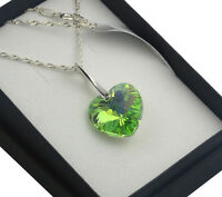 925 Silver Necklace made with Swarovski Crystals *Peridot AB* Heart