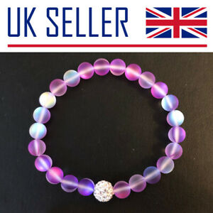 Moonstone Bracelet - Gift, Beaded, Mermaid Glass, Diamante, Purple, Green, Black