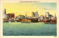 Vintage Postcard - Skyline From The Harbor Buffalo New York NY #4504