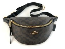 New Authentic Coach F48740 Belt/Waist Bag In Signature Coated Canvas Brown/Black