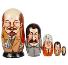 """6"""" 5 pc Russian Dolls Traditional Nesting Doll Hand Painted in Russia Lenin Ussr"""