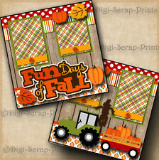 Fun Days Of Fall autumn 2 premade scrapbook pages paper piecing Layout Digiscrap