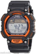 Casio STLS100H-4A Mens Black Orange TOUGH SOLAR Sports Watch 5 Alarms LED NEW