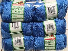 Knitting wool 6 x 100g acrylic yarn 8ply Blue 100% Brand New