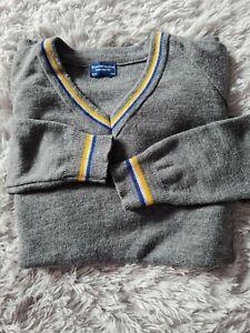 "40"" chest Grey School Uniform 'V' Neck Jumper yellow blue trim"