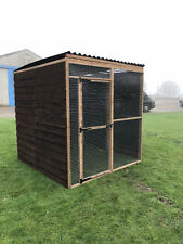 Covered Walk In Run 6FT 6 Full Boarded 19G Chicken Rabbit Bird Aviary Enclosure
