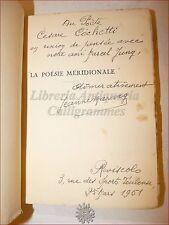 POESIA FRANCIA - Marvig, Jeanne: LA POESIE MERIDIONALE 1939 Toulouse Dedica Aut.