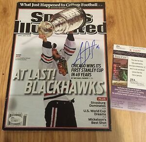 RARE Blackhawks JONATHAN TOEWS Signed Sports Illustrated JSA Proof NO LABEL 2010