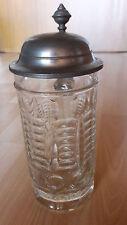 Antiker Glaskrug - Bierkrug, Zinndeckel mit Gravur