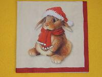 4 Servietten Bobble Hasen Eulen Bär Eichhörnchen Weihnachten Serviettentechnik M