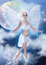 Cloud Fairy Birthday Card for women & girls heavenly in blue & white