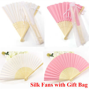 New 10/20/30pcs Wedding Favours White Pink Silk Fan With Gift Bag Party