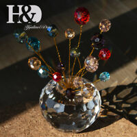 Mixed Color Cryatal Flat Beads Cut Glass Flower Pot Ornament Home Decor Gifts
