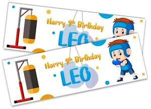 x2 Personalised Birthday Banner Boxing Children Kids Party Decoration 578