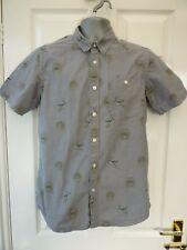 ASOS Mens Grey Size S / M  Angel & Building Motif Casual 1 Pocket Cotton Shirt